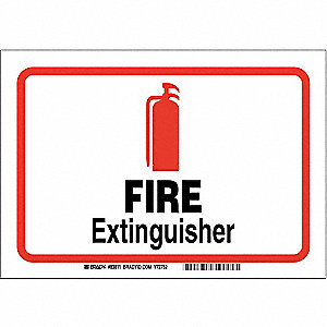 "Fire Equipment, No Header, Polyester, 7"" x 10"", Adhesive Surface, Not Retroreflective"