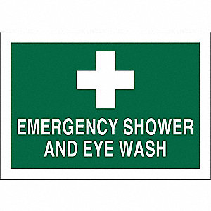 "Eyewash and Shower, No Header, Aluminum, 10"" x 14"", With Mounting Holes, Not Retroreflective"