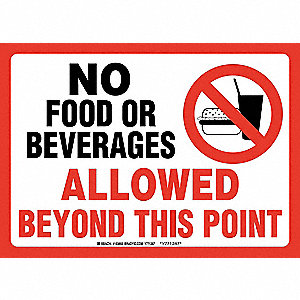 "Eating and Drinking Restriction, No Header, Polyester, 14"" x 10"", Adhesive Surface"