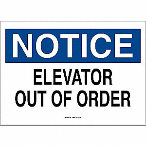 "Elevator Hazard, Notice, Aluminum, 10"" x 14"", With Mounting Holes, Not Retroreflective"