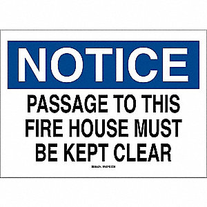 "Fire Equipment, Notice, Polyester, 10"" x 14"", Adhesive Surface, Not Retroreflective"