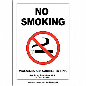 "No Smoking, No Smoking, Plastic, 14"" x 10"", With Mounting Holes, Not Retroreflective"