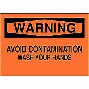 "Wash Hands, Warning, Aluminum, 10"" x 14"", With Mounting Holes, Not Retroreflective"