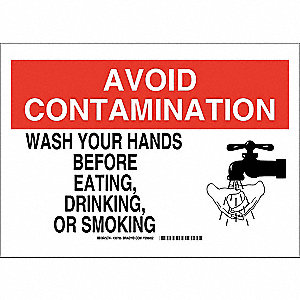 "Wash Hands, Avoid Contamination, Polyester, 10"" x 14"", Adhesive Surface, Not Retroreflective"