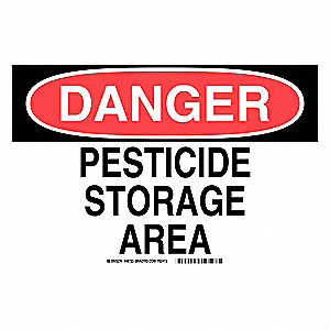 "Pesticide, Danger, Aluminum, 10"" x 14"", With Mounting Holes, Not Retroreflective"