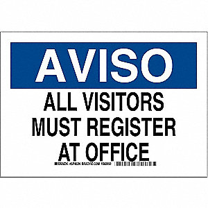 "Employees and Visitors, Aviso, Plastic, 14"" x 10"", With Mounting Holes, Not Retroreflective"