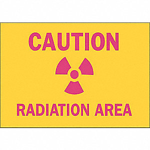 "Radiation and X-Ray, Caution, Aluminum, 7"" x 10"", With Mounting Holes, Not Retroreflective"
