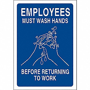 Facility Sign,Must Wash Hands,10x7