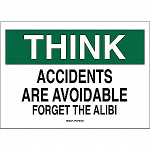 "Safety Incentive and Motivational, Think, Aluminum, 7"" x 10"", With Mounting Holes"