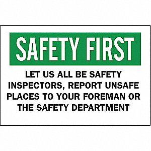 "Safety Incentive and Motivational, Safety First, Aluminum, 10"" x 14"", With Mounting Holes"