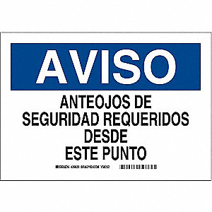 "Personal Protection, Aviso, Polyester, 7"" x 10"", Adhesive Surface, Not Retroreflective"