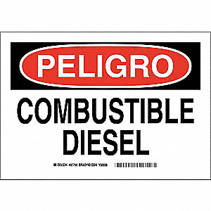 "Chemical, Gas or Hazardous Materials, Peligro, Plastic, 10"" x 14"", With Mounting Holes"