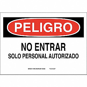 "Authorized Personnel and Restricted Access, Peligro, Polyester, 7"" x 10"", Adhesive Surface"