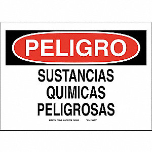 "Chemical, Gas or Hazardous Materials, Peligro, Plastic, 7"" x 10"", With Mounting Holes"