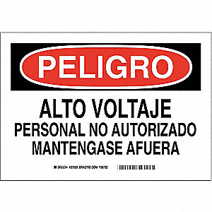 "Electrical Hazard, Danger/Peligro, Polyester, 7"" x 10"", Adhesive Surface, Not Retroreflective"