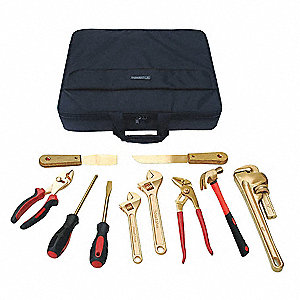 Nonsparking Tool Set,Nonmagnetic, Corrosion Resistant,Number of Pieces 10