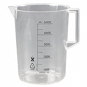 Plastic Beaker with Handle Low Form&#x3b; Low Form with Handle&#x3b; 1000 to 5000 ml