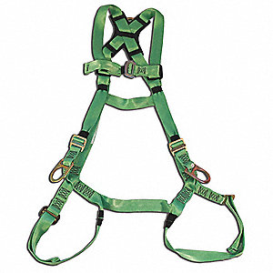 3XL General Industry Full Body Harness, 400 lb. Weight Capacity, Green