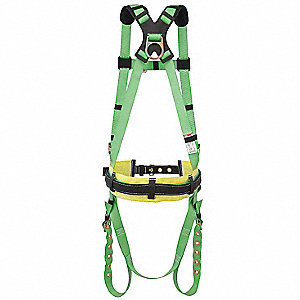 2XL General Industry Full Body Harness, 400 lb. Weight Capacity, Green
