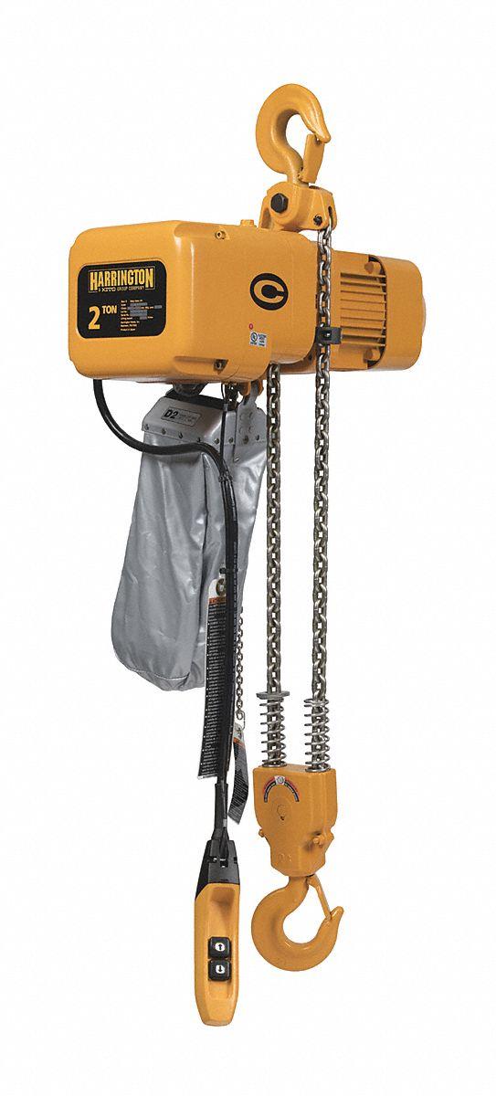1-1//2 Ton 18 ft//min 460V 20 Lift Harrington Hoists NER Electric Chain Hoist w//Hook Suspension