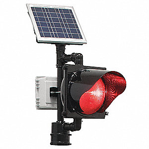 Red LED Solar Flashing Beacon, Black Polycarbonate Housing Material