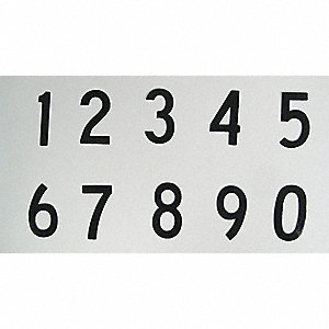 "Number Kit, 0 Thru 9, Black, 3"" Character Height, 1 EA"
