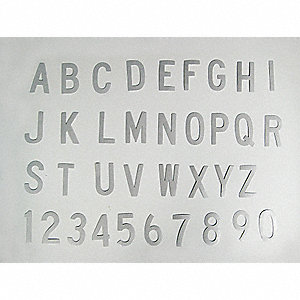 "Letter Label Kit, A Thru Z, Silver Gray, 6"" Character Height, 1 EA"