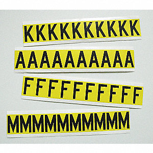 "Carded Letter Kit, A Thru Z, Black on Yellow Background, 1/2"" Character Height, 1 EA"