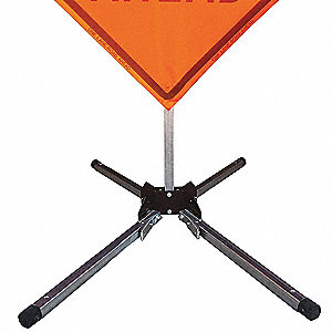 Portable Sign Stand, Steel, Sign Compatibility: Roll-Up, Fillable: No, Silver