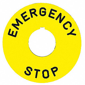 30mm Round Emergency Stop Legend Plate, Plastic, Yellow