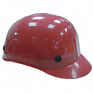 Red Polyethylene Vented Bump Cap, Style: Perforated Sides, Fits Hat Size: 6-1/2 to 7-1/2