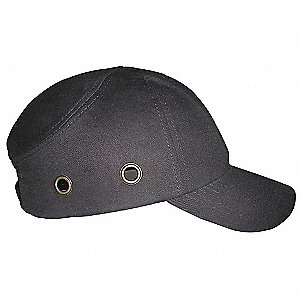 Black Inner Shell ABS, Outer 100% Cotton Vented Bump Cap, Style: Baseball Style, Fits Hat Size: 6-3/