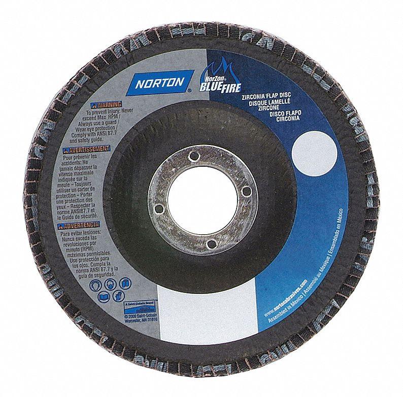 10//Pk Norton BLUEFIRE R884P Flap Disc 4-1//2 in x 5//8-11 in 60 Grit Type 29 Zirconia Alumina Plus //// 66254461170
