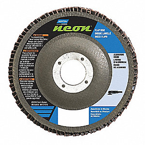 "4-1/2"" Flap Disc, Type 27, Aluminum Oxide, 40 Grit, 7/8"" Mounting Size, Neon High Density"