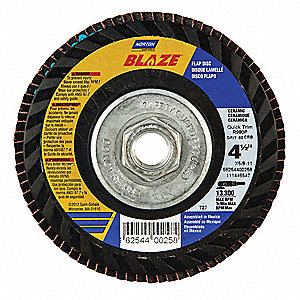 "4-1/2"" Flap Disc, Type 27, Ceramic, 120 Grit, 7/8"" Mounting Size, SG Blaze"