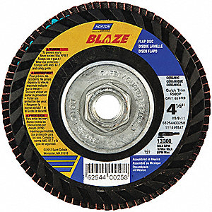 "4-1/2"" Flap Disc, Type 27, 5/8""-11 Mounting Hole, Fine, 120 Grit Ceramic, 1 EA"