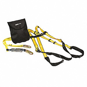 Yellow, XL Size Fall Protection Kit, 400 lb. Weight Capacity, Tongue Leg Strap Buckles