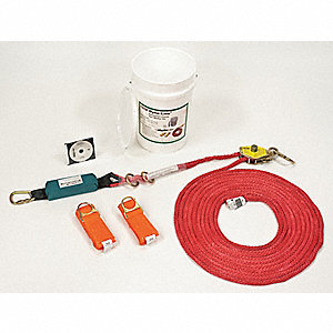 Horizontal Lifeline Kit, 60 ft. Length, Temporary Installation, 2 Workers Per System