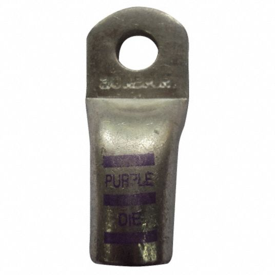 Lug,  1 ga and 2 ga Gauge,  3/8 in Stud Size,  Copper/Tin,  Crimp/Solder,  PK 5