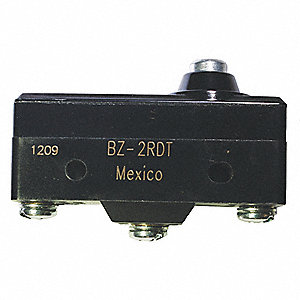 Industrial Snap Action Switch, SPDT Contact Form, 250VAC Voltage Rating, 15A Current Rating