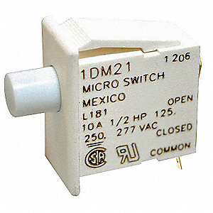 10A @ 240V Plunger Industrial Panel Mount Snap Action Switch; Series DM