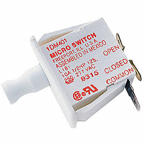 10A @ 240V Finger Grip, Plunger Industrial Panel Mount Snap Action Switch; Series DM