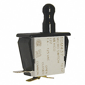 1A @ 120V Finger Grip, Plunger Industrial Panel Mount Snap Action Switch; Series DM