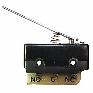 10A @ 240V Hinge, Lever Industrial Snap Action Switch; Series DT