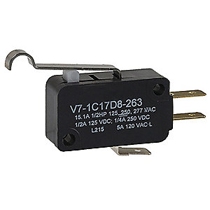 15A @ 240V Lever, Simulated Roller Miniature Snap Action Switch; Series V7