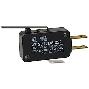 Miniature Snap Action Switch, SPDT Contact Form, 250VAC Voltage Rating, 3A Current Rating