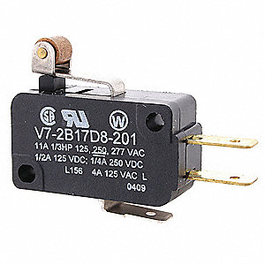 3A @ 240V Lever, Roller, Short Miniature Snap Action Switch; Series V7