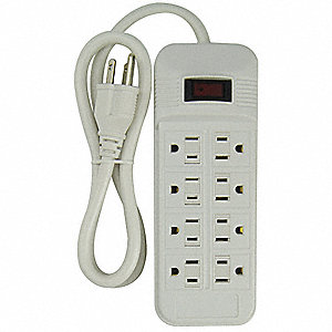 White Plastic Outlet Strip, 8 Number of Outlets, 4 ft. Cord Length
