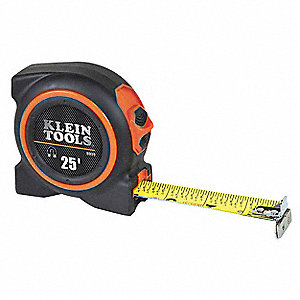 Tape Measure,1 In x 25 ft,Black/Orange