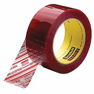 Carton Tape,Red on Clear,72mm x 100m